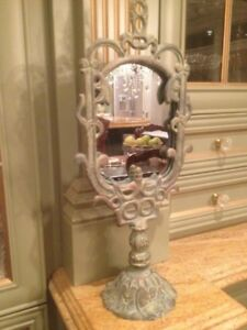 Cast Iron Room Mirror Heavy Display Old Fashion Up Shabby Chic m
