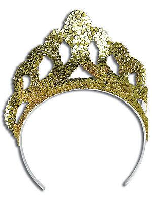Tiara Gold Sequin Princess Crown Fancy Dress Queen Fairytale Girls Womens Kids