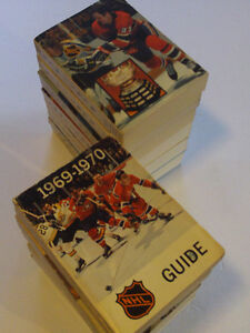SUPER LOT RARE  DE 15 GUIDES DE HOCKEY VINTAGE DE LA LNH1969-84