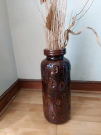 Floor ceramic vase in brown