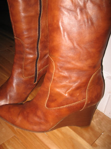 J.CREW made in Italy marbled leather tall wedge boots size 9