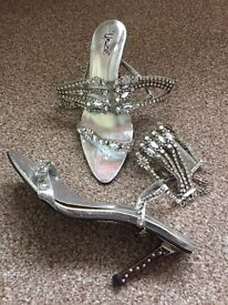Stunning silver jewelled shoes size 3