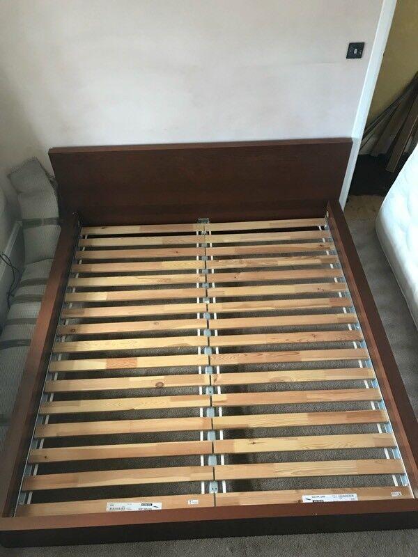Superking Ikea \'Sultan Lade\' Dark Brown Bed Frame With Mattress | in ...