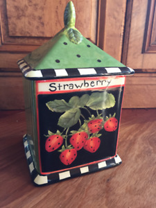 STRAWBERRY Ceramic Canister, signed Susan Winget