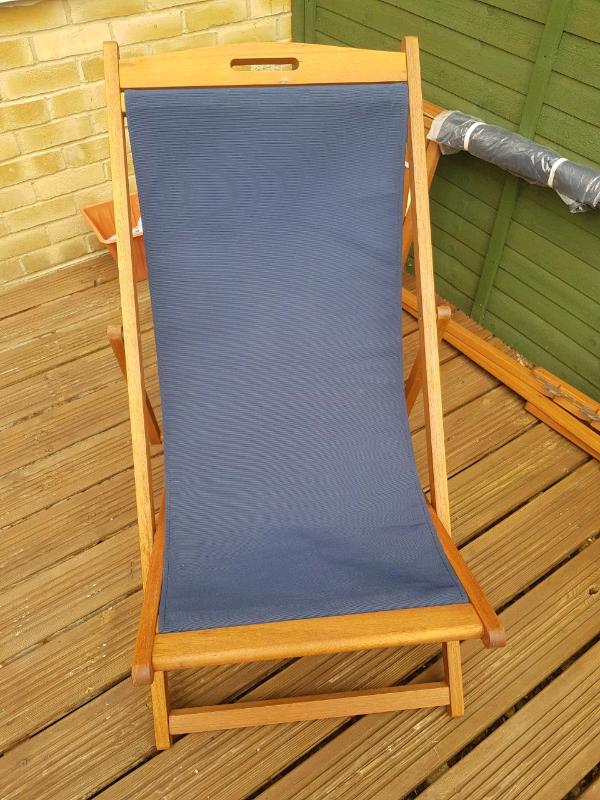 Kingsbury New Wooden Folding Sun Lounger Deck Chair Navy 2x In Newmarket Suffolk Gumtree