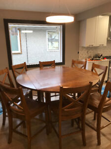 Pub Height Dining table and 8 chairs - SOLID WOOD