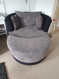 Swivel/ cuddle chair and half moon footstall