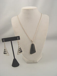 Beautiful Black Onyx Sterling Siver Necklace and Earrings