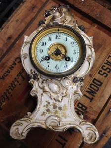 ANTIQUE JAPY FRERES FRANCE EARLY ROCOCO PORCELAIN MANTLE CLOCK