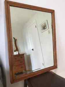 Wood frame, bevelled mirror
