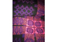 Immaculate Welsh tapestry blanket purple and black