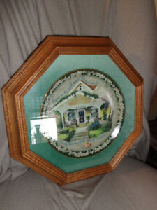 Collectible Bradford Exchange plate in wood frame