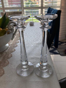 Two Crystal 12inch tall candleholders