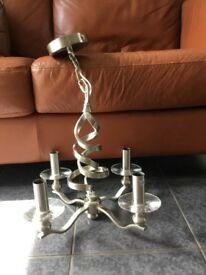 4 Arm Brushed Steel Light Fitting
