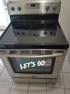 maytag stainless steel glass ceramic top dual burner stove range