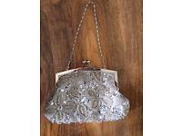 Silver embellished evening bag