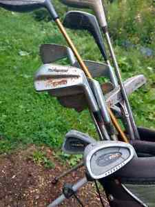 Top flight golf bag with clubs, wedges, and putters