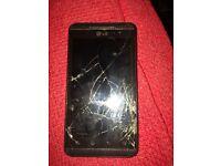 Mobile phone with broken screen