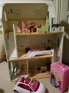 Barbie/doll house and all accessories as shown