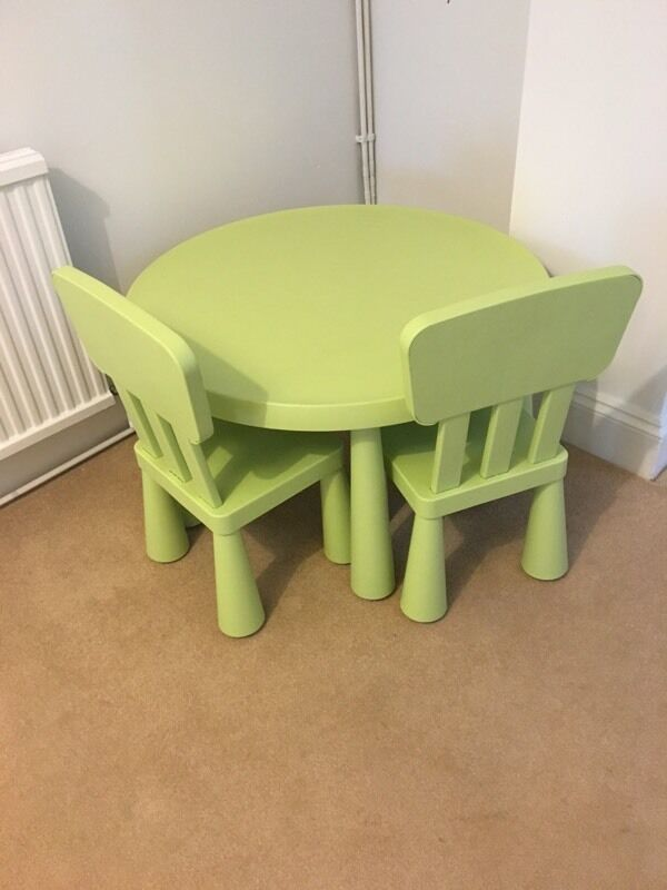 ikea mammut green round table 2 chairs in brighton east sussex gumtree. Black Bedroom Furniture Sets. Home Design Ideas