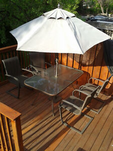 Patio Set - Tables, chairs, umbrella