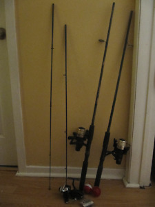 2 Fishing Rods, 3 Reels, Accessories