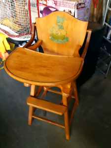Antique hardwood baby high chair