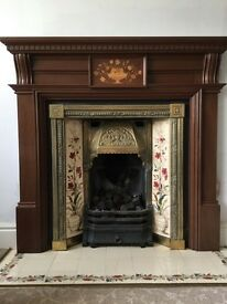 Replica Victorian wooden fireplace with solid brass insert and gas / open fire