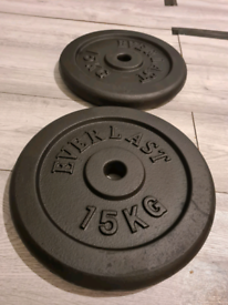 """2 x 15kg cast iron weights plates for 1"""" barbell"""