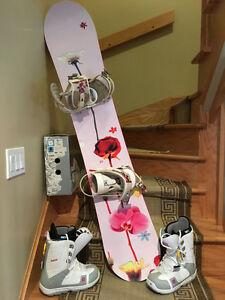 Woman's snowboard with bindings and boots