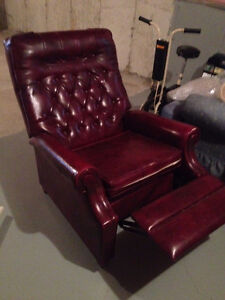 Reclining Cherry Color All Lether Chair