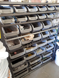 HD Whalen Metal Shelving Unit with Plastic Bins - Used