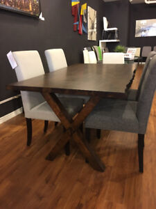new compact solid wood live edge dining table in espresso stain
