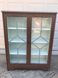 Bookcase - solid painted wood with glass doors