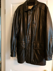 """""Men's BlackLeather Coat. Size M (38-40)"