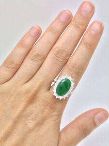 8.50CT NATURAL GREEN EMERALD OVAL RING