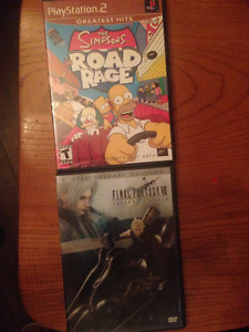 Simpsons Road Rage PS2 & FFVII Advent Children 2DVD Set