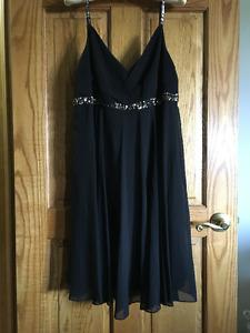 Black Chiffon Empire Waist Dress Sz 16