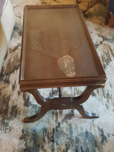 Antique Duncan Phyfe Mahogany Glass Top Coffee Table