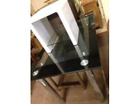 Black glass table £80 high gloss white lamp stand £30 new