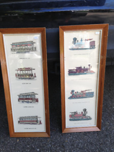 2 VINTAGE TRAIN AND TROLLEY MATCHING PRINTS