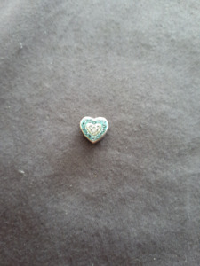 Sparkly blue and white heart charm
