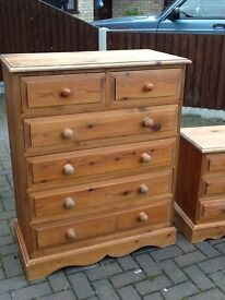 A LARGE SOLID BARE PINE. CHEST OF 6 DRAWERS IN NEED OF TLC