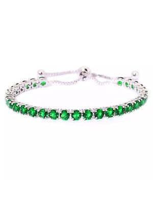 Emerald Cinch Gemstone 5MM  Bracelet 14Kt White Gold Over 6-10 Inch NEW