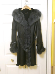Lady's leather and fur coat