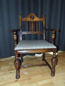 SET of 6 ANTIQUE DINING CHAIRS and FABRIC