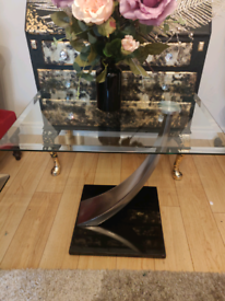 Beautiful heavy glass side table (also matching coffee table for sale)