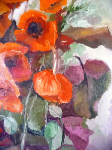 "Bright Floral Oil Painting by J. K. ""Study Of Flowers"" 1950's Stratford Kitchener Area image 7"
