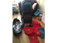 Bugaboo cameleon 3 with petrol blue/red fabrics and footmuff