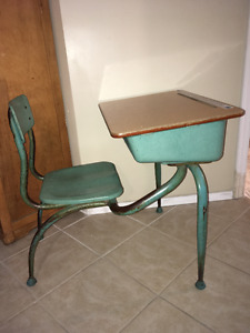 1960s Vintage Student School Desk-Wood Desk Attached Metal Chair